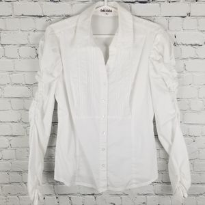 LADY DUTCH | ruched arms collared button up shirt